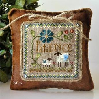 Little House Needleworks - Little Sheep Virtues - Part 07 - Patience-Little House Needleworks, Little Sheep Virtues, Part 07 of 12, Patience, animals, ornaments, series, book of virues, Cross Stitch Pattern