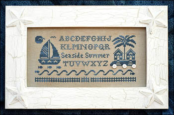 Little House Needleworks - Seaside Summer Alphabet - Cross Stitch Chart Pack-Little House Needleworks, Seaside Summer Alphabet,sand dollars, beach, sampler, sand,  Cross Stitch Chart Pack