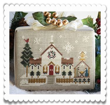 Little House Needleworks - Hometown Holiday - Town Church-Little House Needleworks, Hometown Holiday,Town Church, Christmas village, winter scenes, Christmas Eve, houses, Cross Stitch Pattern