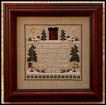 Little House Needleworks - Winter Whites-Little House Needleworks,Winter Whites, snow, house in the woods, pine trees, sheep in the snow,moon  star, Cross Stitch Pattern