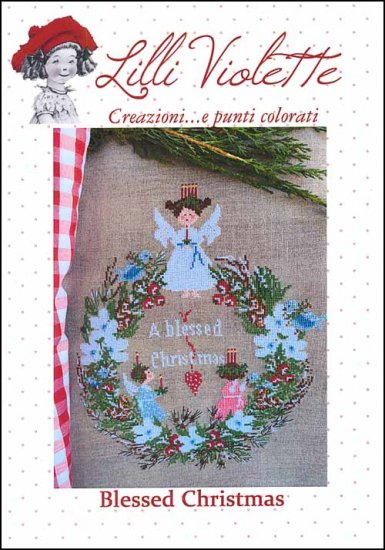 Lilli Violette - Blessed Christmas-Lilli Violette - Blessed Christmas, angel, Christmas, Christmas wreathe, candles, cross stitch