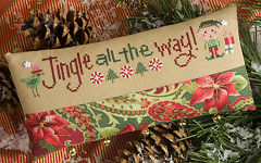 Lizzie Kate - Jingle All the Way - Cross Stitch Kit-Lizzie Kate, Jingle All the Way,Christmas, pillow, ornament, elves, jingle bells,  Cross Stitch Kit