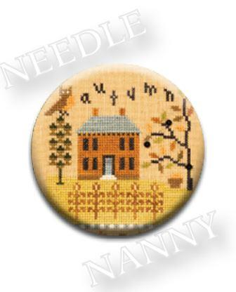 Stitch Dots - Autumn Needle Nanny by Lizzie Kate-Stitch Dots - Autumn Needle Nanny by Lizzie Kate, fall, home, leaves, family, magnet, cross stitch Stitch Dots