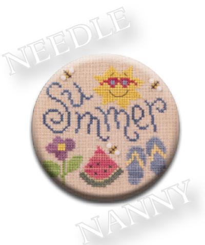 Stitch Dots - Summer Fun Needle Nanny by Lizzie Kate-Stitch Dots - Summer Fun Needle Nanny by Lizzie Kate, summer, beach, flip flops, ocean, sun, flowers, cross stitch, magnet,