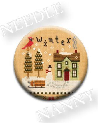 Stitch Dots - Winter Needle Nanny by Lizzie Kate-Stitch Dots - Winter Needle Nanny by Lizzie Kate, winter, magnets, cross stitch, house, home, cardinal,