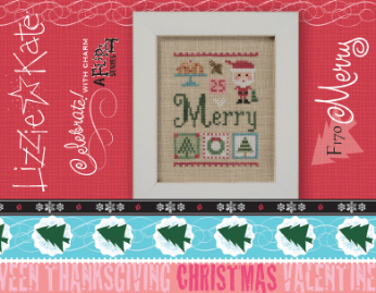 Lizzie Kate - Celebrate with Charm - Merry-Lizzie Kate - Celebrate with Charm - Merry, Christmas ornament, Santa Claus, cross stitch