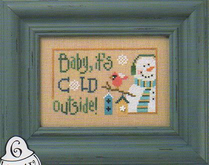 Lizzie Kate - 6 Snow Belles Flip-it - Baby, It's Cold Outside-Lizzie Kate, 6 Snow Belles,Flip-it, snowman, snowgirl, red bird, snowflake, knitted scarf, bird houses, Baby, Its Cold Outside - Cross Stitch Pattern