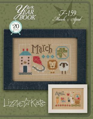 Lizzie Kate - Yearbook Double-Flip - March/April-Lizzie Kate - Yearbook Double-Flip - MarchApril, lion, lamb, kites, bunny, Easter basket, April showers, cross stitch