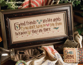 Lizzie Kate - Inspiration Boxer - Good Friends are Like Angels-Lizzie Kate, Inspiration Boxer, Good Friends are Like Angels, best friends, girlfriends, buddies,friends for life, Cross Stitch Pattern