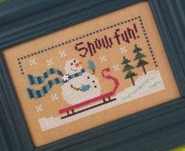 Lizzie Kate - 6 Fat Men Flip-it - Snow Fun-Lizzie Kate,6 Fat Men, Flip it, Snow Fun, Sledding down the hill, sled, snowman, scarf, trees, snow, Cross Stitch Pattern