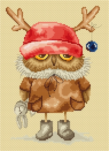 Lena Lawson Needlearts - Precious Owlets - Owlet's New Reindeer Hat - Cross Stitch Chart-Lena Lawson Needlearts, Precious Owlets, Owlet's New Reindeer Hat, Christmas owl, Christmas ornament, animals, reindeer, Cross Stitch Chart