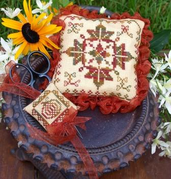 Lindsay Lane Designs - Celebration of Fall Pincushion-Lindsay Lane Designs, Celebration of Fall Pincushion, Autumn, pincushions,  Cross Stitch Pattern