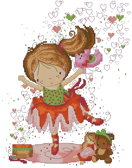 Lena Lawson Needlearts - Dreaming in Color Series - Little Dancer - Cross Stitch Chart-Lena Lawson Needlearts, Dreaming in Color Series, Little Dancer, ballerina, little girl, child, dancing, dance lessons, toys, tutu, ballet slippers, Cross Stitch Chart