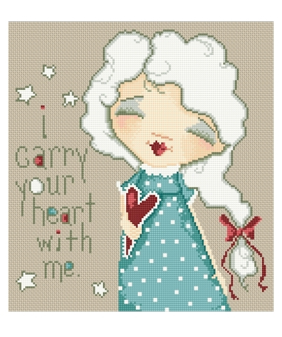 Lena Lawson Needlearts - Sweet Thoughts - I Carry Your Heart with Me-Lena Lawson Needlearts, Sweet Thoughts, I Carry Your Heart with Me, Love, hearts, friendship, happy, Cross Stitch Chart