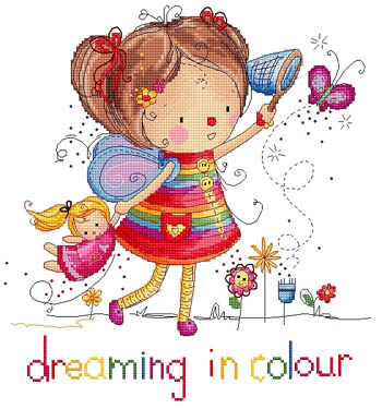 Lena Lawson Needlearts - Dreaming In Color - Cross Stitch Chart-Lena Lawson Needlearts,  Dreaming In Color, little girls, sleeping, hearts, dreaming, butterfly, dolls, Cross Stitch Chart