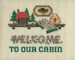 Sue Hillis Designs - Lodge Welcome - Cross Stitch Pattern with Button-Sue Hillis Designs, Lodge Welcome, Cross Stitch Chart, with Button
