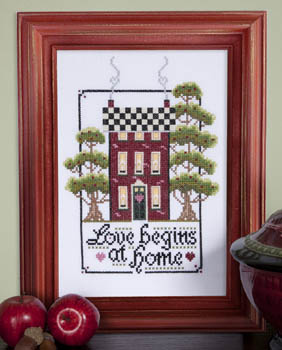 Kit & Bixby - Love Begins At Home - Cross Stitch Pattern-Kit & Bixby, Love Begins At Home, house, family, trees, chimney, fireplace, hearts,  Cross Stitch Pattern