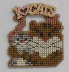 A Kitty Kats Original - I Love Cats - Cross Stitch Magnet Pattern