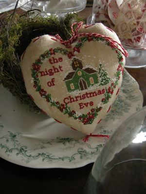 Lilli Violette - Christmas Eve-Lilli Violette, Christmas Eve, church, snow, night, wreathe, flowers, christmas heart, Cross Stitch Pattern