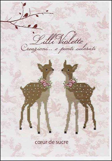 Lilli Violette - Coeur De Sucre - Cross Stitch Pattern-Lilli Violette, Coeur De Sucre, Heart of Sugar, deer, heart, pin cushion, Cross Stitch Pattern