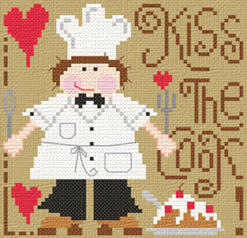 Barbara Ana Designs - Kiss the Cook!  (male version)-Barbara Ana Designs - Kiss the Cook  male version - Cross Stitch Chart