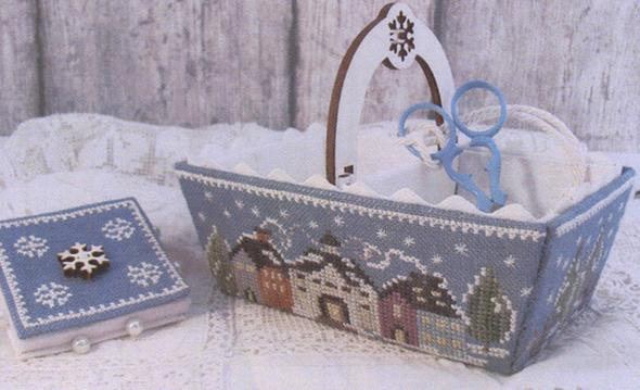 Mani di Donna - Winter Days Sewing Basket - Cross Stitch Pattern-Mani di Donna, Winter Days Sewing Basket, Christmas basket, village, houses, snow, Cross Stitch Pattern