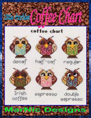 MarNic Designs - Coffee Chart - Cross Stitch Pattern-MarNic Designs, Coffee Chart, owls, decaf, regular, irish coffee, espresso, caffine, Cross Stitch Pattern