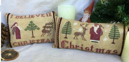 Mani di Donna - Christmas Pillows #1-Mani di Donna - Christmas Pillows 1, ornaments, Santa Claus, Christmas, reindeer, cross stitch