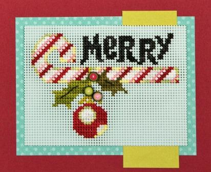 Just Another Button Company - Merry Cane-Just Another Button Company - Merry Cane, Christmas, ornament, candy cane, cross stitch