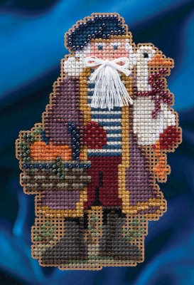 Mill Hill - Celebration Santas - Joyeux Noel Santa - Cross Stitch Kit-Mill Hill, Celebration Santas, Joyeux Noel Santa, Christmas, Christmas ornament, Cross Stitch Kit
