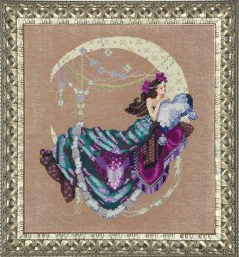 Mirabilia Designs - Moon Flowers - Cross Stitch Pattern-Mirabilia Designs, Moon Flowers, fairy, moon, flowers, night, fairy tales, Cross Stitch Pattern
