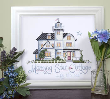 Kit & Bixby - Morning Star Cottage - Cross Stitch Pattern-Kit & Bixby, Morning Star Cottage, house, beach, by the sea, ocean, beach house, white cottage, seagulls, Cross Stitch Pattern