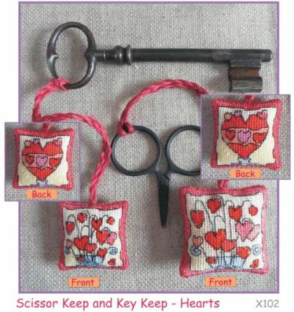 Michael Powell Art - Scissor/Key Keep Hearts Kit-Michael Powell Art - ScissorKey Keep Hearts Kit, hearts, love, scissor fob, cross stitch
