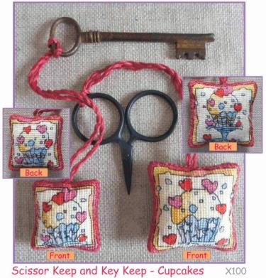 Michael Powell Art - Scissor/Key Keep Cupcake Kit-Michael Powell Art - ScissorKey Keep Cupcake Kit, baking, sweets, scissor fobs, key chain, cross stitch