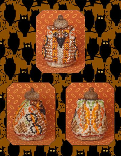 Just Nan - Mr Nutley Owl Limited Edition Kit-Just Nan - Mr Nutley Owl, Owl ornament, fall, acorn, cross stitch