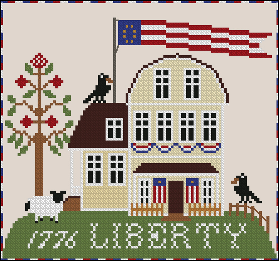 Twin Peak Primitives - Liberty-Twin Peak Primitives - Liberty, 4th of july, home, sheep, American Flag, cross stitch, patriotic