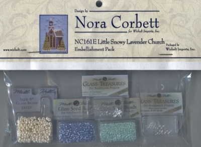 Mill Hill - Nora Corbett - Little Snowy Lavender Cottage Embellishment Pack-Mill Hill - Nora Corbett - Little Snowy Lavender Cottage Embellishment Pack, beads, cross stitch
