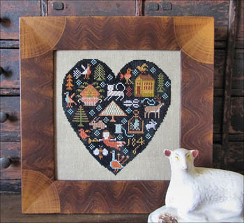 Kathy Barrick - Black Heart - Cross Stitch Pattern-Kathy Barrick, Black Heart, folk, forest, love, house, angel,  Cross Stitch Pattern