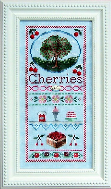 The Needle's Notion - Cherries Jubilee - Cross Stitch Chart-The,Needle's, Notion, Cherries, Jubilee, Cross, Stitch, Chart,cherry tree, basket, deserts, pies, ladder,blossoms, field,
