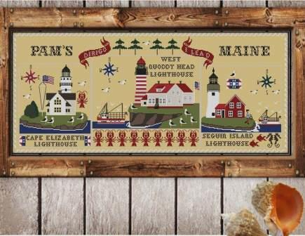 Twin Peak Primitives - Pam's Maine-Twin Peak Primitives - Pams Maine, Lighthouses, ocean, historic, sea, cross stitch