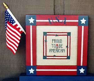 Poppy Creations - Proud to be American - Cross Stitch Chart with Charm-Poppy Creations, Proud,to, be,American,Cross, Stitch, Chart, with, Charm, flag, ribbon, 911, remembrance, red, white, blue, patriotic