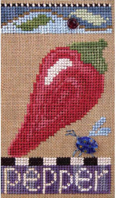 SamSarah Design Studio - Farmer's Market Veggie Stand Banner - Chart 6 of 6 - Fresh Pepper-SamSarah Design Studio - Farmers Market Veggie Stand  - Chart 6 of 6 - Fresh Pepper - Cross Stitch Pattern