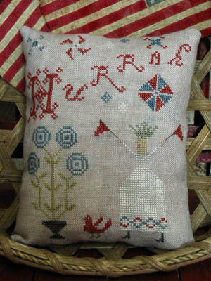 Pineberry Lane - Hurrah-Pineberry Lane, Hurrah,  red, white  blue, patriotic, 4th of July, USA, America, Pillow, celebrate,  Cross Stitch Patterns