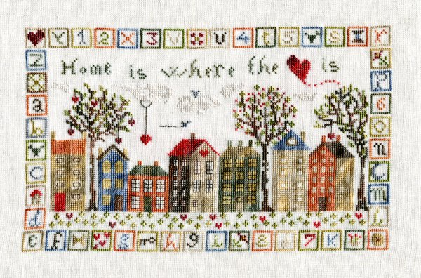 The Pink Needle - Home is Where the Heart Is-The Pink Needle - Home is Where the Heart Is, home, sampler, sewing, family, love, hearts, mom, cross stitch