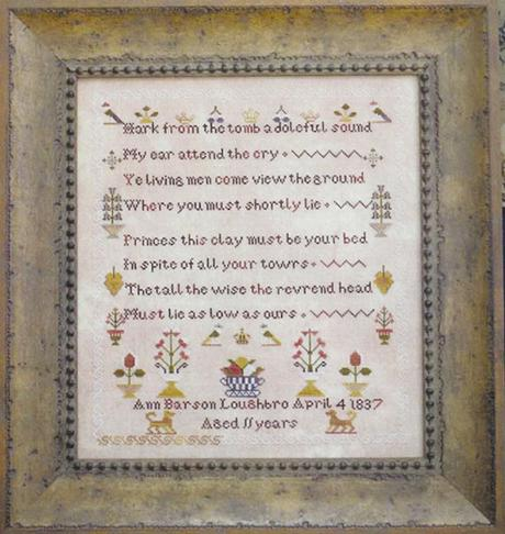 Plum Street Samplers - Ann Barson Loughbro, 1837 - Cross Stitch Pattern-Plum Street Samplers, Ann Barson Loughbro, 1837, sampler, historic, teaching, flowers, Cross Stitch Pattern