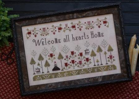 Plum Street Samplers - Welcome All Hearts Home - Cross Stitch Pattern-Plum Street Samplers, Welcome All Hearts Home, forest, christmas, trees, family, love, Cross Stitch Pattern