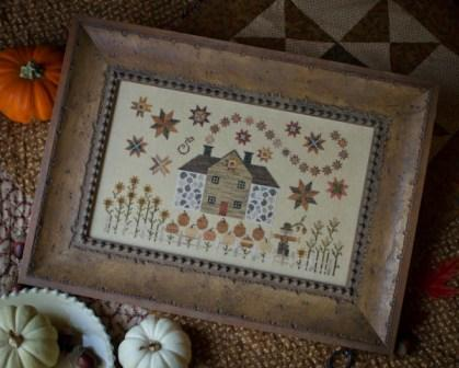 Plum Street Samplers - Cinnamon Stars-Plum Street Samplers, Cinnamon Stars, cottage, Home, fall, stars, pumpkins, country side, Cross Stitch Pattern