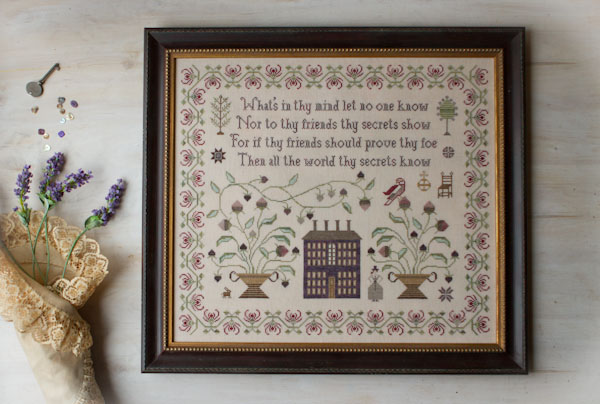 Plum Street Samplers - On Prudence - Cross Stitch Pattern-Plum Street Samplers, On Prudence, sampler, secrets, flowers, houses, good advice,Cross Stitch Pattern