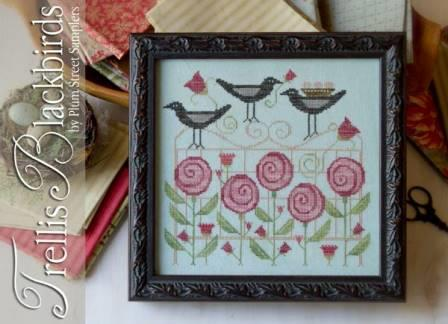Plum Street Samplers - Trellis Blackbirds - Cross Stitch Pattern-Plum Street Samplers, Trellis Blackbirds, Beach Cottage Stitches,  spring, singing, flowers, Cross Stitch Pattern