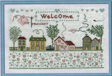 The Pink Needle - Welcome-The Pink Needle - Welcome, home, neighborhood, family, friends, cross stitch